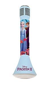 LEXIBOOK Disney Frozen 2-Micrófono Bluetooth con función de Modificador de Voz, Altavoz Karaoke Integrado Luminoso de 3W, Ranura Micro SD, Batería Recargable MIC210FZ, Color Azul