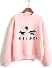 SIMYJOY Unisex Sudadera sin Capucha Billie Eilish no Sonrisa Hiphop Street Fashion Oversized de Estilo Casual