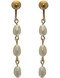 db7b539fa29b Addie enlaces Triple chapado en oro blanco agua dulce perla Clip en  pendientes