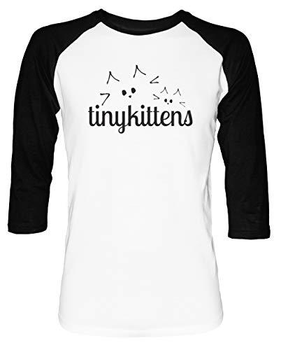 Awesome tinykittens Shirt - Cats Herren Damen Unisex Baseball T-Shirt Weiß Schwarz 2/3 Ärmel Women's Men's Unisex (Frankenstein Quotes Halloween)