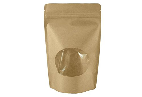 50pcs Craft Sacchetti Buste con carta marrone Shell, sacchetto stand-up e chiusura lampo chiusura con finestra per tè Dado e Candy Frutta Secca (5.1