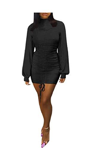 VITryst Womens Puff Sleeve Turtleneck Nightclub Styles Bodycon Club Dresses Black M -
