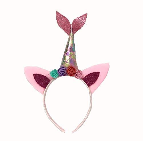 dressfan Einhorn Stirnband Frauen Mädchen Blume Party Geburtstag Stirnband Kopfbedeckung Cosplay Kostüm Gr. Einheitsgröße, S-pink