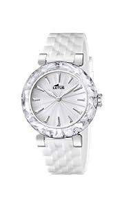 Reloj analógico Lotus 15852/1 de cuarzo para mujer, correa de goma color blanco