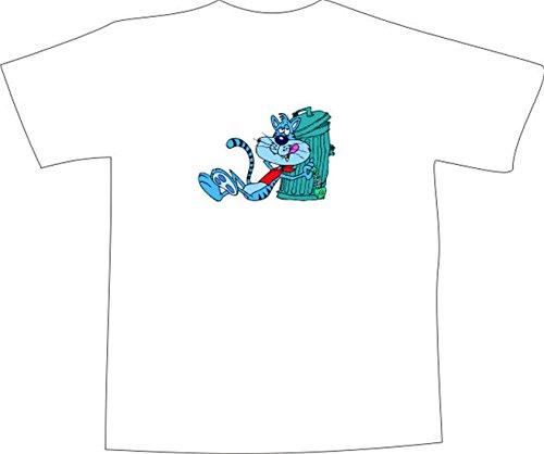 T-Shirt E656 Schönes T-Shirt mit farbigem Brustaufdruck - Logo / Grafik - Comic Design - betrunkener Kater mit Fischgräte an Mülltonne Schwarz