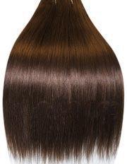 GlamXtensions Clip-In-Extensions für komplette Haarverlängerung - hochwertiges Remy-Echthaar - 100 g - 50 cm - Mittelbraun - 6