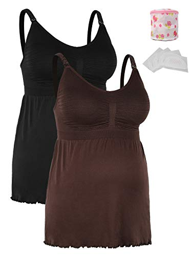 iLoveSIA Stilltops Doppelpack Umstandsmode Still-trägertop Damen Schwangerschafts-top Schwarz+braun,S
