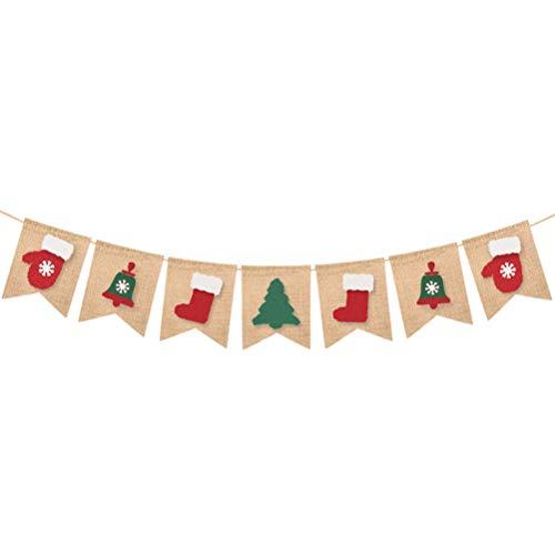 nachts Thema Garland Bunting Banner Schwalbenschwanz Sackleinen Fahnen Weihnachten Tür Wandbehang Dekoration Ornamente Home Office Party Decor ()