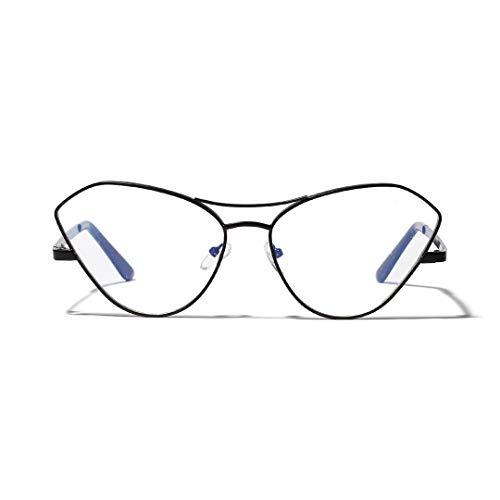 UICICI Butterfly Metal Large Frame Katze Brillengestell, klare Gläser, Unisex (Farbe : Schwarz)