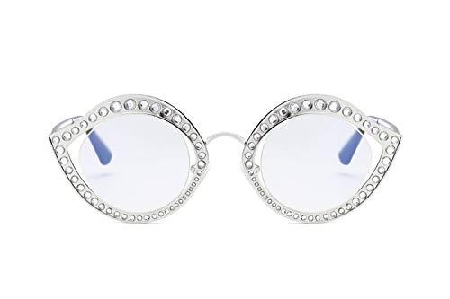 ZJWZ Europa Metal-Sonnenbrille, Diamantrahmen, dekorative Sonnenbrille, Damenmode-Sonnenbrille, Flachspiegel,NO5