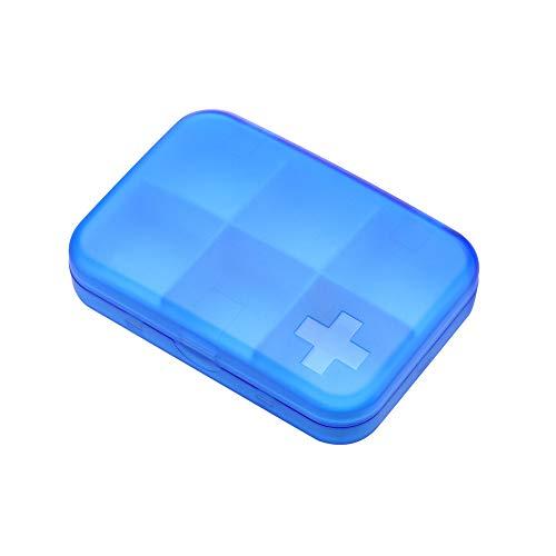Pille Medikament Box (Bbl345dLloPillendose Tablettenbox Medikamentenbox, Tragbare 6 Zellen Reise feuchtigkeitsbest?ndige Pille Medizin Medikament Aufbewahrungskoffer Box Container - blau)