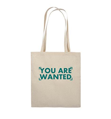 Comedy Bags - YOU ARE WANTED - LOGO - Jutebeutel - lange Henkel - 38x42cm - Farbe: Schwarz / Silber Natural / Türkis