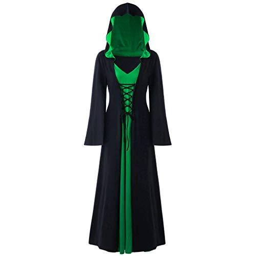 LOPILY Umhang Kleid mit Kapuze Lange Cape Vampir Kostüm Halloween Erwachsener Damen Cosplay Umhang Prop für Halloween Masquerade Mittelalter Bekleidung Kanerval Kostüme (Grün, 36)