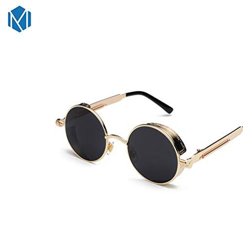 MISM Gotisch Steampunk Runde Sonnenbrille für Frauen gespiegelte Sonnenbrille Metallrahmen Retro Design Gold Schwarz
