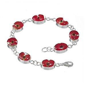 Silver Bracelet made with real flowers - Poppy - Oval - includes giftbox
