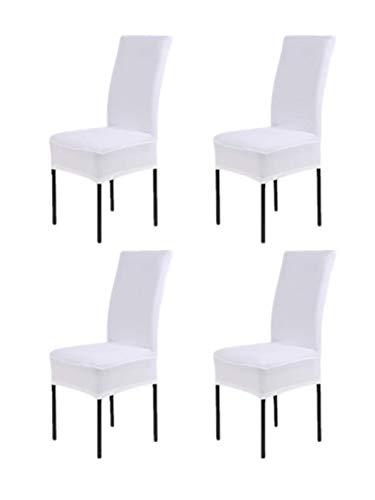 Hmwish 4 pezzi coprisedia con schienale, moderne universale coprisedie elasticizzato cucina salotto coprisedie sala da pranzo bianca