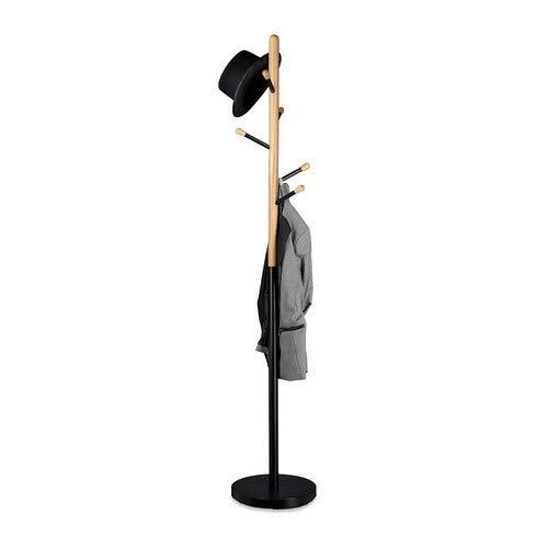 Relaxdays, schwarz Garderobenständer, freistehend, 6 Haken, Kleiderständer für den Flur, Holz und Metall, HD 180x34 cm, 34 x 34 x 180 cm