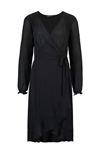 Expresso Cora Damen schwarzes Wickelkleid mit A-Linien-Schnitt und Einer Länge bis zum Knie -