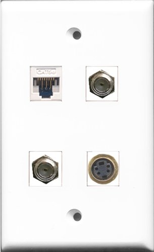 RiteAV 2-Port Koax-Kabel, Accessoires F und 1Port S-Video und 1Port Cat5e Ethernet weiß Wall Plate -