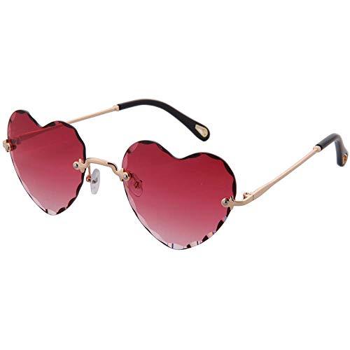OGOBVCK eine herzförmige sonnenbrillen mode rimless eyewear frauen mädchen farbenfrohe farbverlauf brille (Pink)