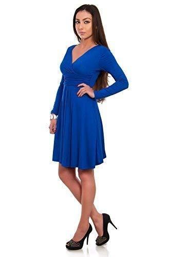 FUTURO FASHION - Robe Empire pour Femme - col V/Manches Longues - Classique/Romantique - Y8467 - Bleu Roi - 42 (XL)