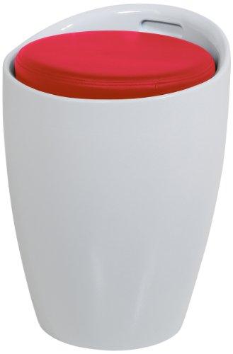 Produktabbildung von AC Design Furniture 48542 Sitzhocker Amalie weiß, Sitzkissen Kunstleder rot mit Stauraum und Griff, circa 35,5 x 51 cm