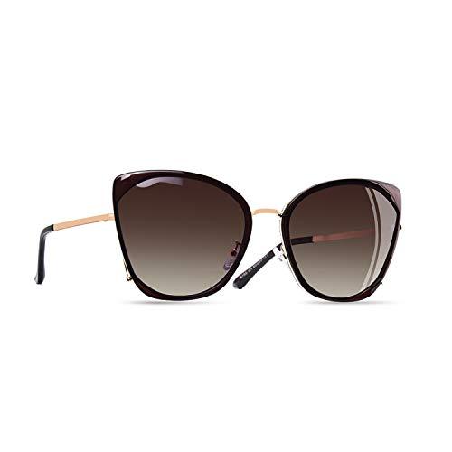 AOFLY Übergroße Metallrahmen Katzenauge Polarisierte Damen Sonnenbrille Gradientenlinse mit UV400 Schutzbrillen für Frauen