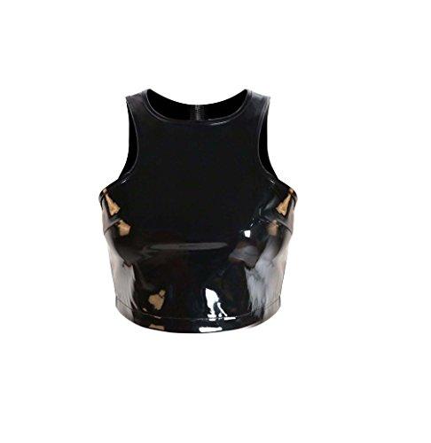 Glänzend Sexy Black PVC-Leder-Korsett plus Größe Zipper Bustier PVC Brassiere für Frauen-Verein Wear Black PVC Bra Hot (Medium) (Pvc Bustier)