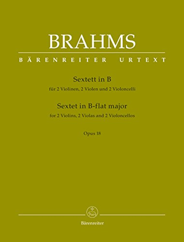 Sextett in B-Dur op. 18 für 2 Violinen, 2 Bratschen und 2 Violoncelli: Stimmen im Umschlag