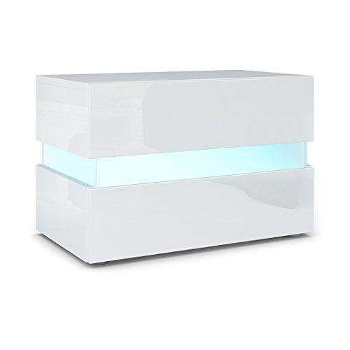 Vladon Nachttisch Nachtkonsole Flow, Korpus in Weiß Hochglanz/Front in Weiß Hochglanz inkl. LED Beleuchtung
