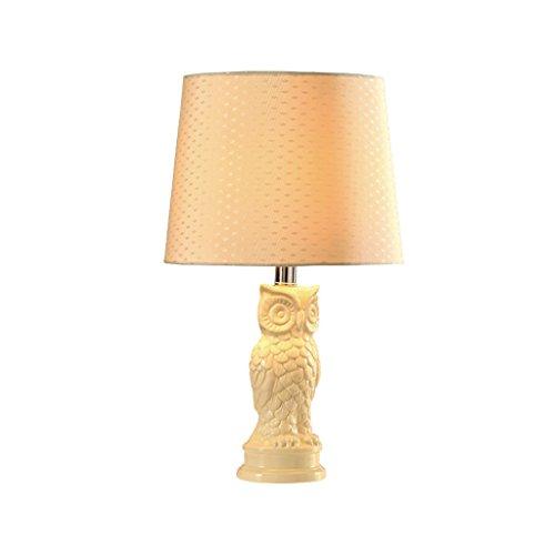 personnalité simple La Méditerranée Céramique Lampe de table Chambre à coucher Lampe de chevet Moderne simple hibou rural Creative Fashion American Style (Couleur : Blanc)