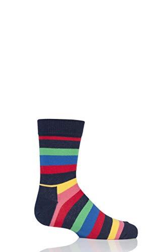 Happy Socks Jungen und Mädchen KSTR01 Streifen Baumwollsocken Packung mit 1 Marine 2-3 Jahre