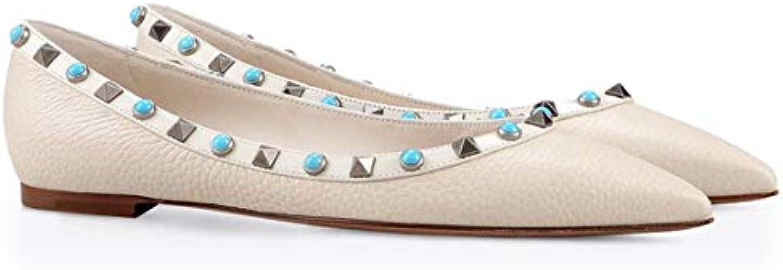 ZHAOYUNZHEN Scarpe Basse a Punta Piatta con Rivetti a Punta, Scarpe Basse,bianca,45 | Tocco confortevole  | Uomini/Donne Scarpa