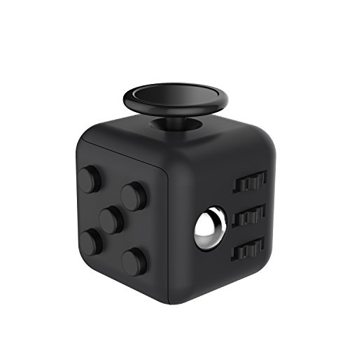 Fidget Cube, ROOROO Fidget Focus Toy Stress Reducer for Kids and Adult Anti-Stress/Anti-anxiety and Depression Ball Perfect For ADHD, Anxiety, Autism(Black)