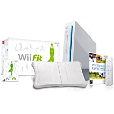 Nintendo Wii Console (Includes Wii Sports) + Wii Fit Bundle - UK PAL Version (Limited Stocks)