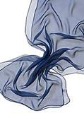 Dunkelblau 100% Seide Schal Gaze 3.5. 180 x 55 cm