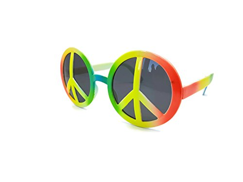 Bada Bing Partybrille Brille Peace bunt Flower Power Hippie 70er Verkleiden Karneval (Reggae Shark Kostüm)