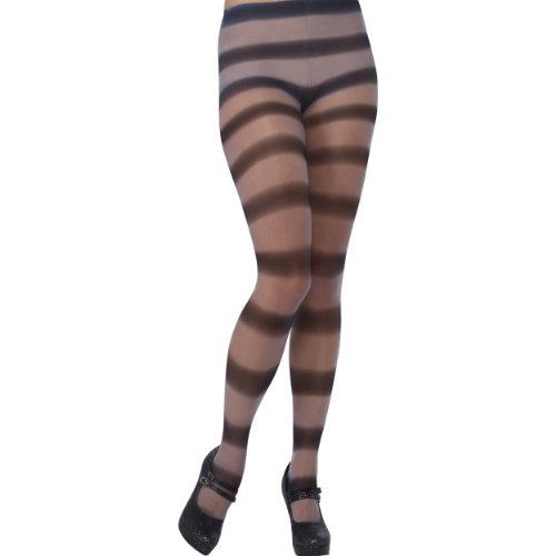 Halloween Kostüm Zubehör horizontal gestreifte Strumpfhose grau sexy -