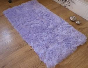 Lilac Faux Fur Sheepskin Style Rug. Available in 4 sizes from Rugs Supermarket