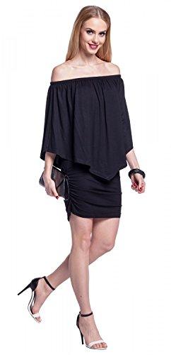 Glamour Empire. Femme Robe Midi Fourreau en Couches Volants Encolure Bardot. 293 Noir