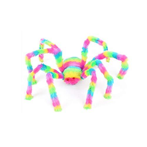 Spider Augen Kostüm - 16Jessie Spinnenschmuck Mehrfarbig mit furchterregenden roten Augen Groß Halloween-Dekorationen Halloween-Spinne im Freien für Fenster Party-Dekor Spukhaus Tür Draussen