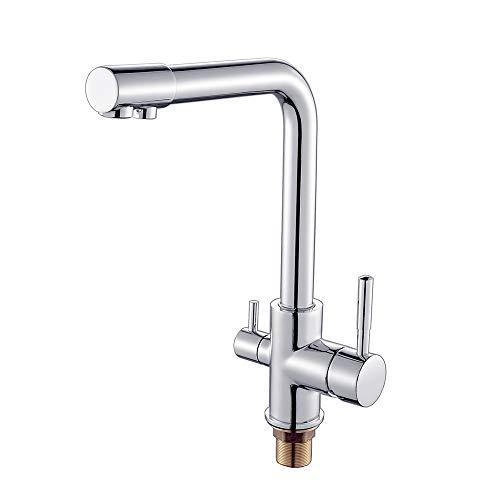 AuraLum Wasserfilter Wasserhahn Küchenarmatur Trinkwasserhahn 3 In 1 Mischbatterie für Küchenspüle Filtersystem (Hochdruck)