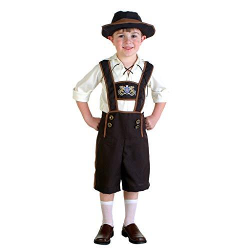 Hut Alpine Kostüm - QQWE Jungenkostüm Oktoberfest, Deutsches Bierfest Partykostüm, Bühnenkostüm Kinder, Alpine Nationalkleidung,A-M