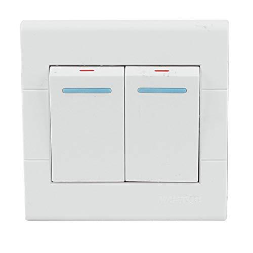 AC 250V 16A 2 Gang SPST Weiß Plastik Quadrat Wandhalterung Platten Lichtschalter DE