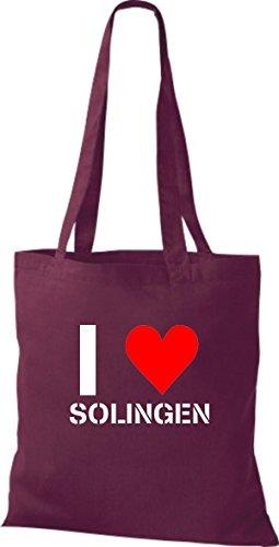 Tote Bag Shirtinstyle Ti Amo Solingen Tua Città Diverse Color Borgogna