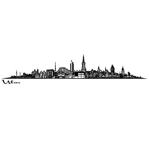 Wandkings Skyline - Deine Stadt wählbar - Ulm - 125 x 21 cm - Wandaufkleber Wandsticker Wandtattoo