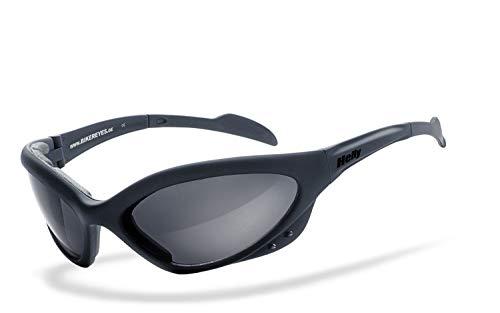Helly® - No.1 Bikereyes® | beschlagfrei, winddicht, HLT® Kunststoff-Sicherheitsglas nach DIN EN 166 | Bikerbrille | Brillengestell: schwarz matt, Brille: speed king 2