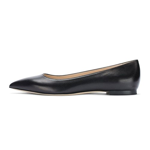 EDEFS Ballerines Femme - Bout Pointu Chaussures - Confort Plat Femmes - Gold Ou Noir Ou Beige Black