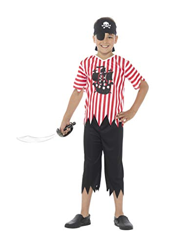 Smiffys Schottland-Kostüm Kinder, Pirat Lieblichen, Jungen, mit Oberteil, Hose, Bandana und Augenklappe