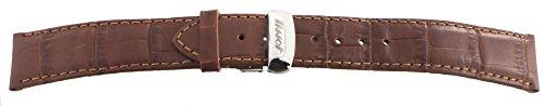 'Tissot braun Leder Armbanduhr Band Riemen mit Schnalle aus Edelstahl; silberfarben 18mm